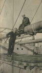 Christine's grandfather, Clarence Martenson, 1897-1968, is pictured with a shipmate. He served in the U.S. Navy during World War I.