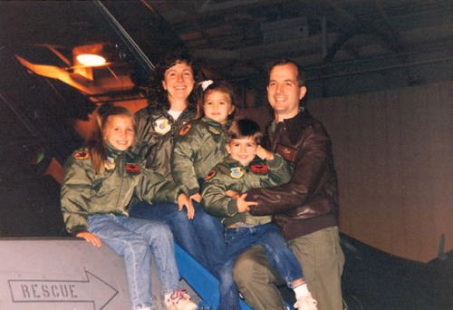 Teri's brother in law, Lt. Col Mark Whalen, 1954-1999, was in the U.S. Air Force and flew over Bosnia. He is pictured with his wife and children.