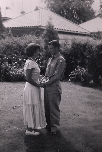 Teri's father, Robert Majewski, is pictured with her mother. He shipped out to Korea for a year after they were married.