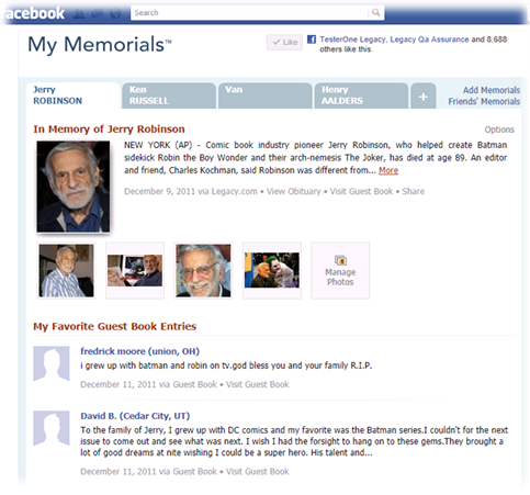 users also have the ability to enhance the obituaries they are following on my memorials by adding photos and creating a list of their favorite guest book