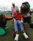 Allan Munroe at Fenway Park. Image via The Boston Globe.
